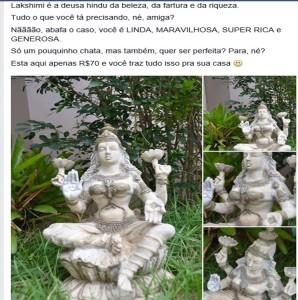 anúncio lakshimi estátua deusa hindu