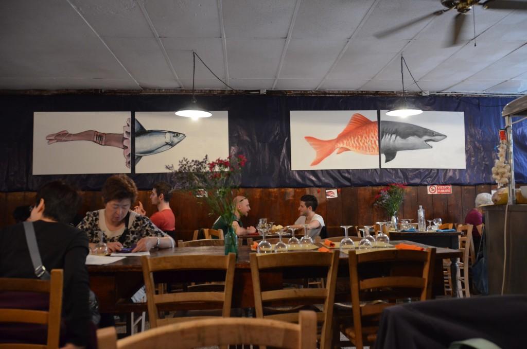 restaurante veneza quadro peixe il paradiso perduto
