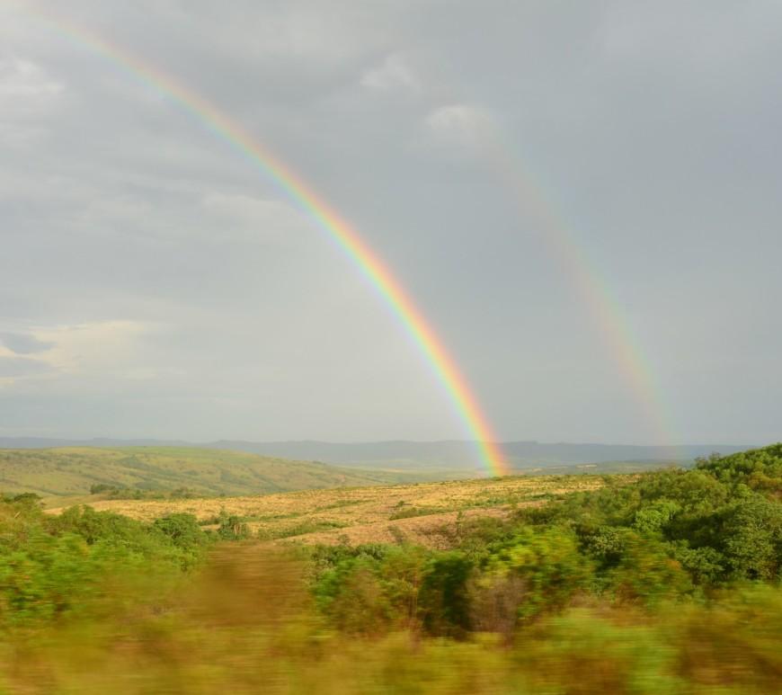 Arco-íris duplo, na altura de Canguçu, RS