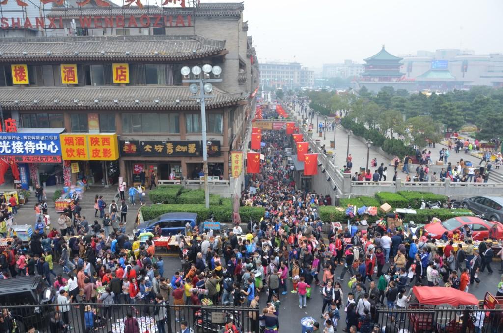 feriado nacional chinês multidão china xi'an