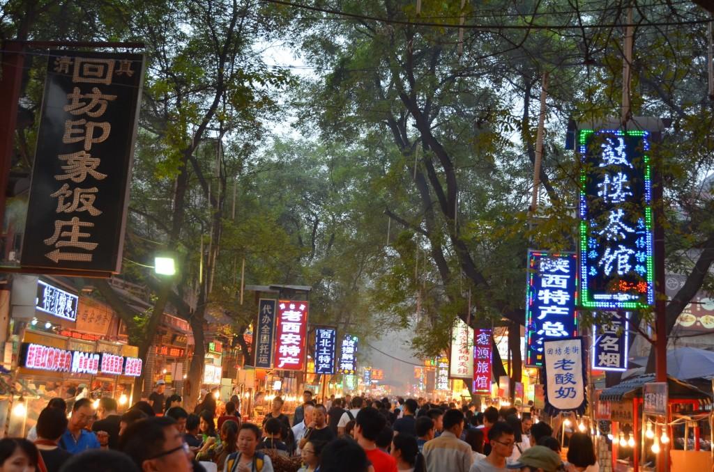 quateirão muçulmano china xi'an multidão