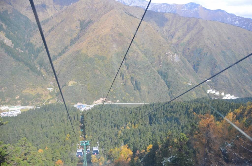 bondinho teleférico montanha china huanglong