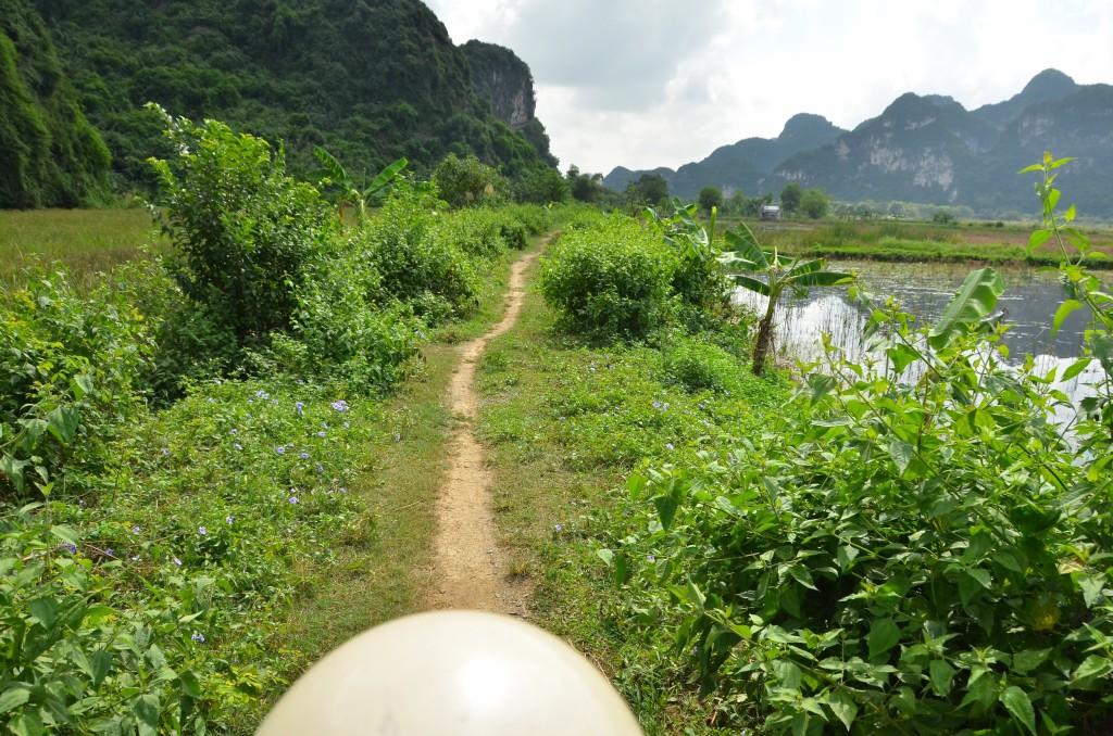 moto, capacete branco, estrada terra, tam coc, ninh binh, vietnam