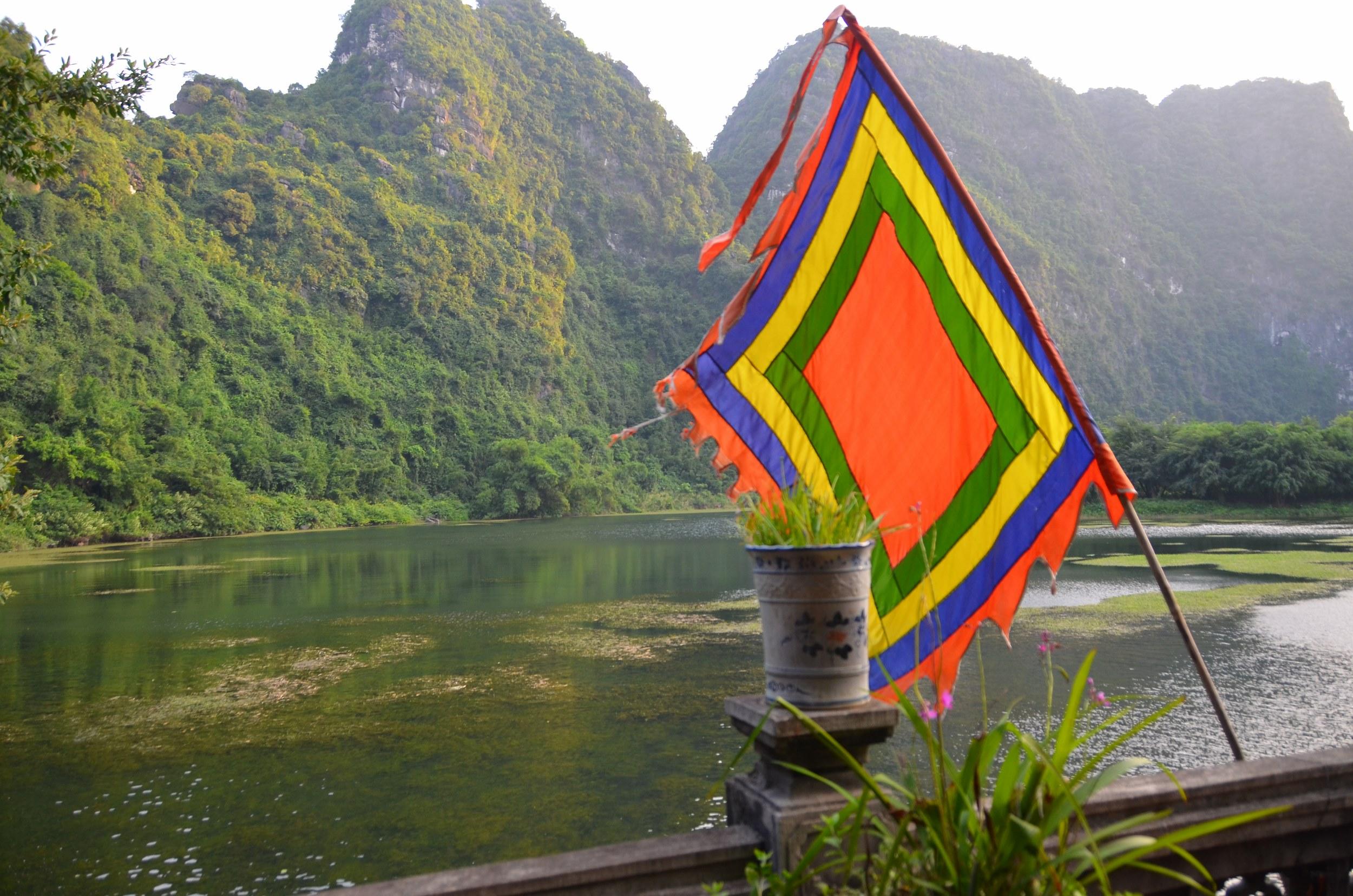 bandeira, budismo, templo, tam coc, trang an, vietnam, quadrada
