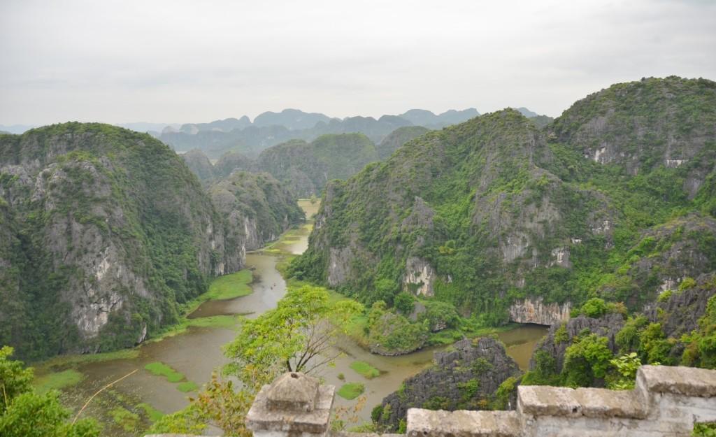 Tam coc, vista, vietnam, montanhas, rio