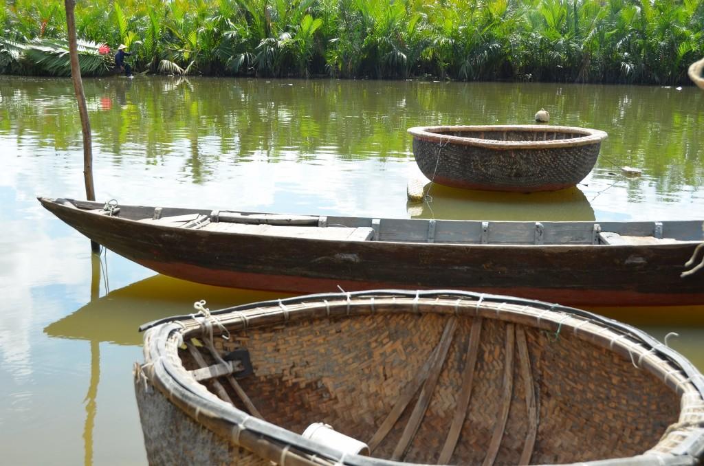 vietnam, barco, cesto, palha, pescador, carga, rio, palmeira, hoi an