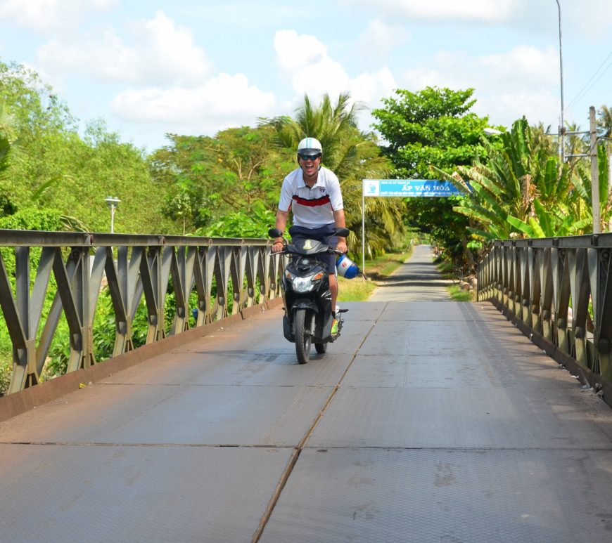 motocicleta, ponte, vietnam, ben tre