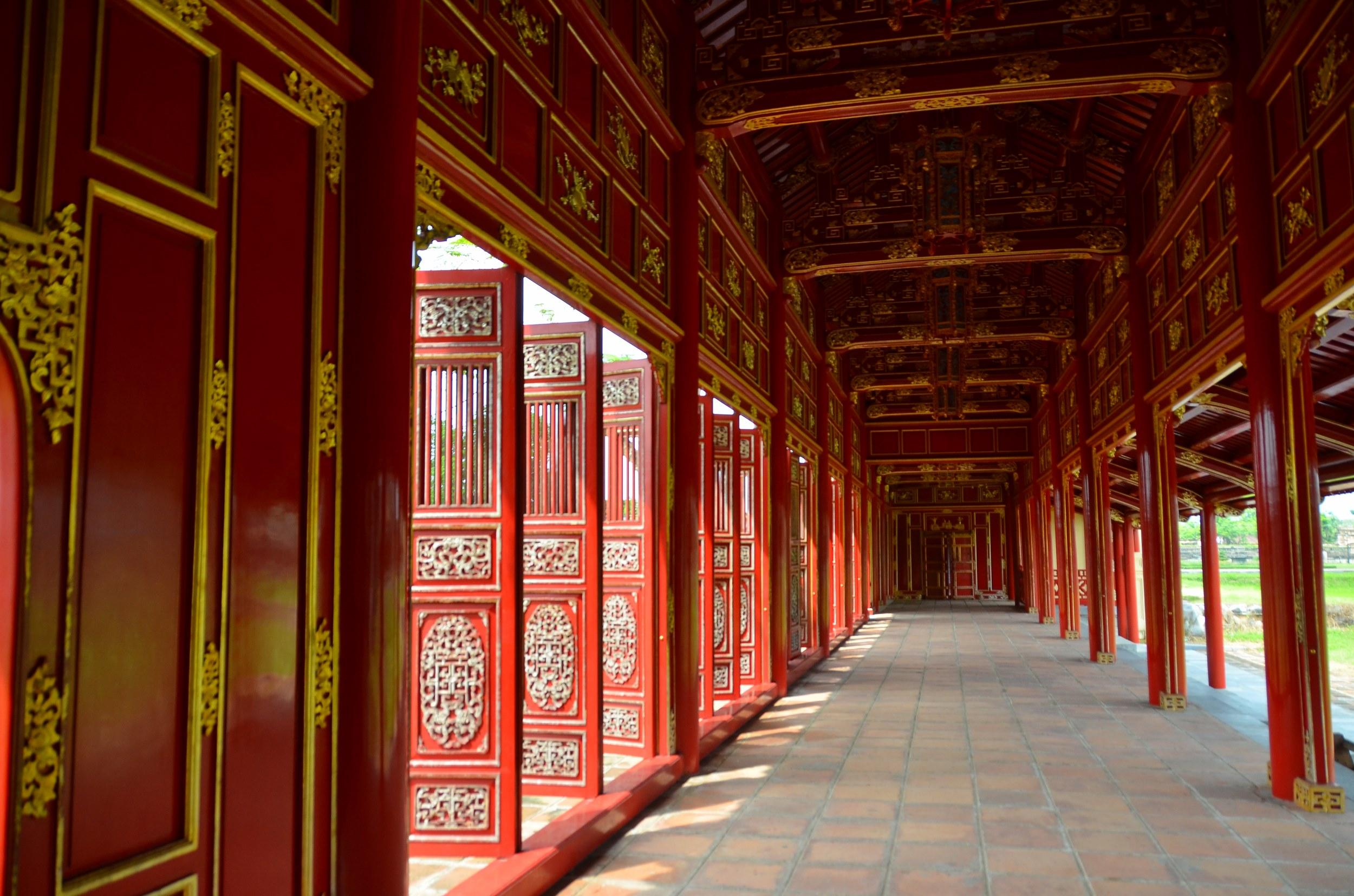 Hué, corredor, vermelho, citadela, cidade imperial