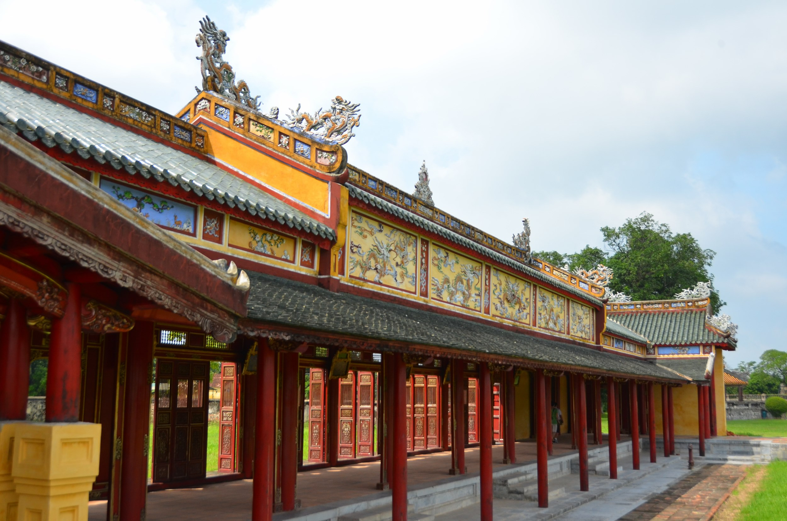 Hué, Vietnam, citadela, cidade imperial, corredor, vermelho