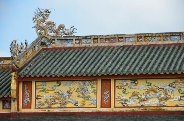 Hué, Vietnam, citadela, cidade imperial, mosaico, corredor, telhado