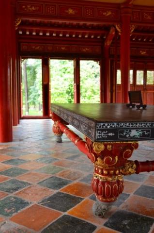 mesa, vietnam, detalhe, pé, hué, mausoléu