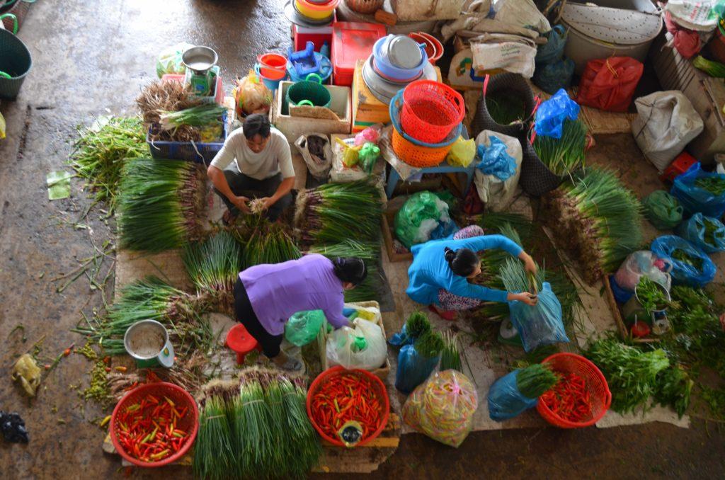 empatia, mercado municipal, vietnam, mulheres, feira, vegetais